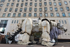 LONDON, ENGLAND - SEPTEMBER 02:  A general view of the giant polar bear puppet outside the Shell Building on September 2, 2015 in London, England. As part of the protest, 64 activists and puppeteers manoeuvred a giant polar bear puppet the size of a double decker bus to rest just metres away from Shell's front entrance. It's intended the polar bear titan will remain fixed there until Shell's Arctic drilling window ends later this month.  (Photo by Ben Pruchnie/Getty Images)